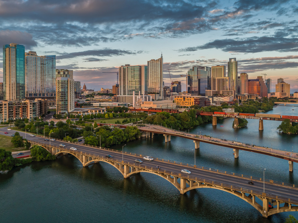 Austin aerial skyline with bridges and Lady Bird Lake