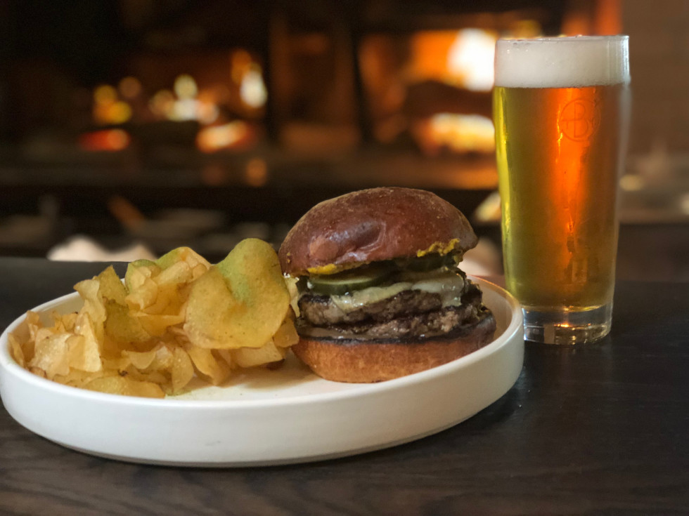 The Brewer's Table burger and beer