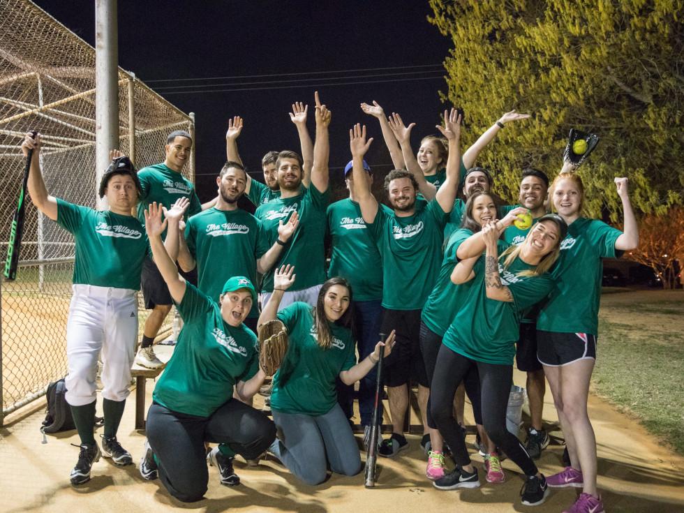 Softball team cheering