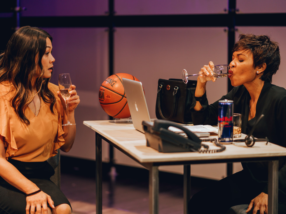 Olivia de Guzman and Kenneisha Thompson in King Liz at Amphibian Stage Productions