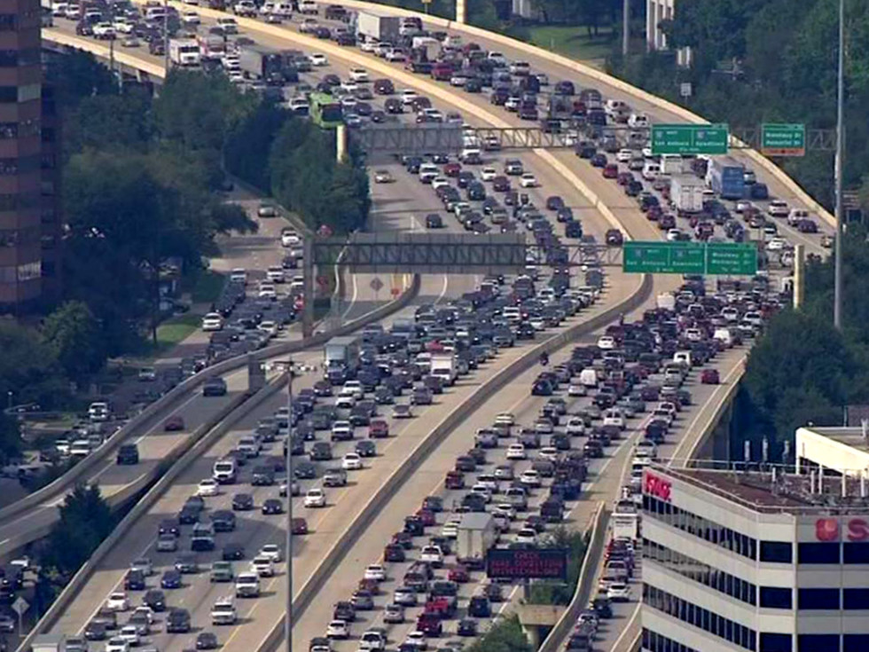 Houston traffic congestion bumper to bumper