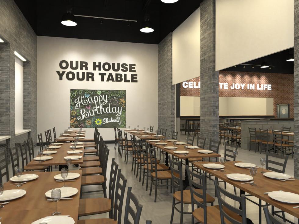 Spaghetti Warehouse rendering new location Marq E Entertainment Center