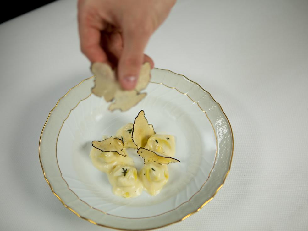 Cappelletti Crescent Island duck confit-stuffed pasta, Norcia black truffles, Parmigiana stravecchio