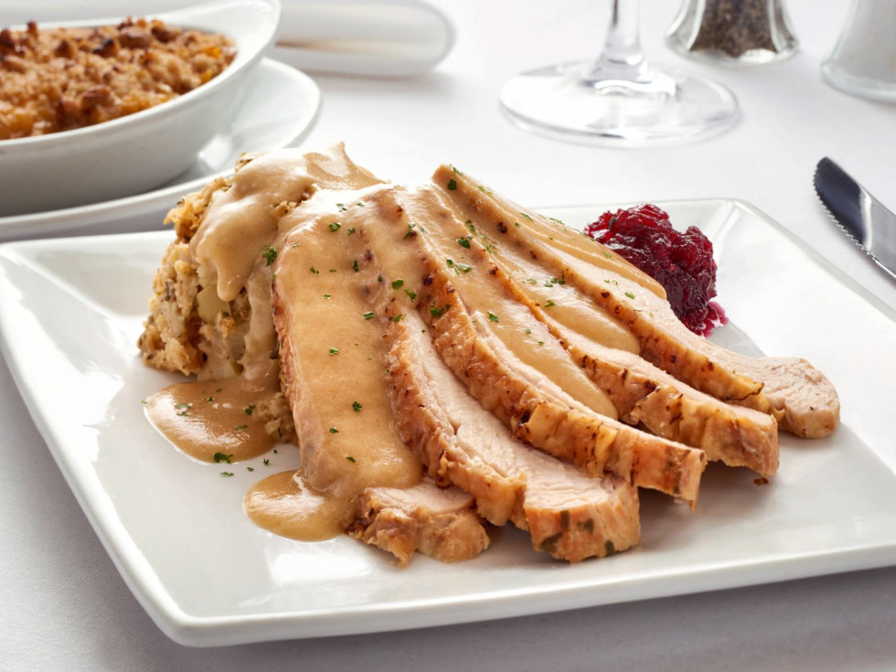 Thanksgiving dinner turkey cranberry sauce