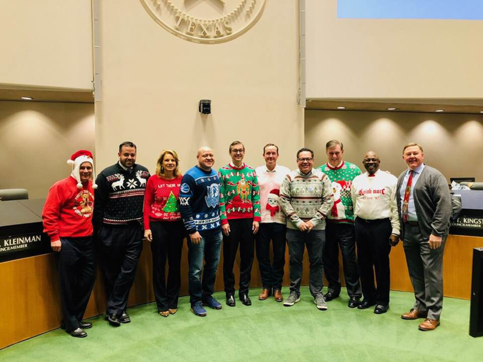 Dallas City Council ugly Xmas sweaters