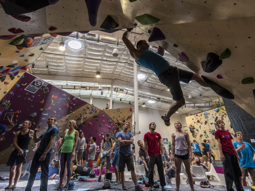 People rock climbing at Crux Climbing