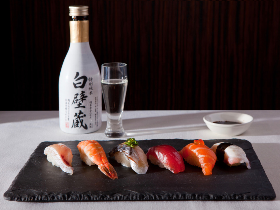 Uptown sushi nigiri and sake