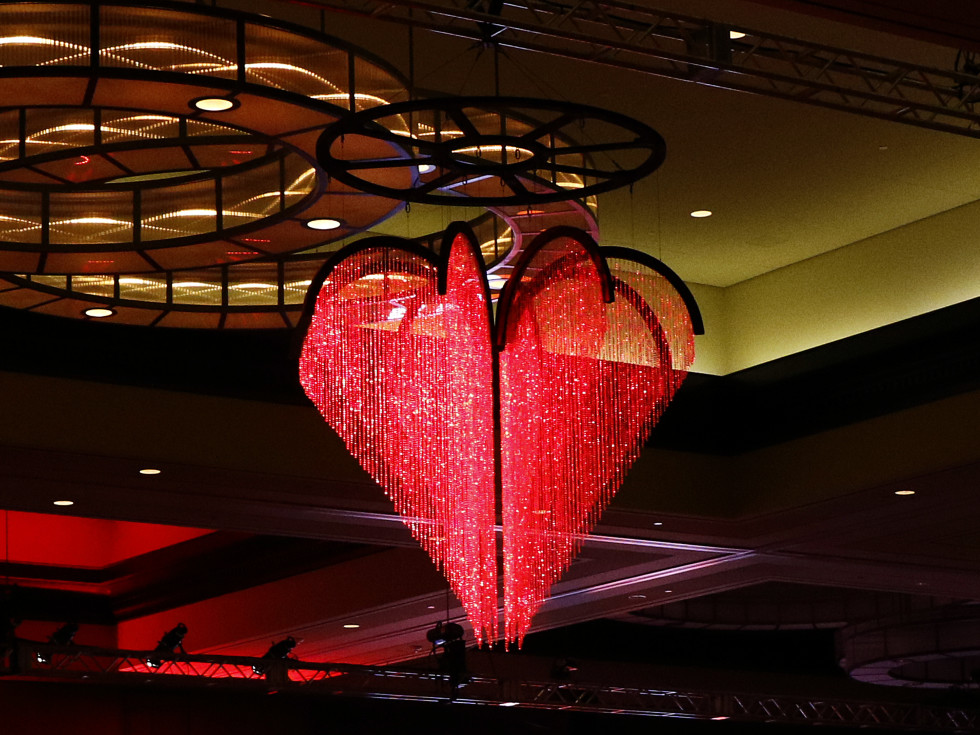 Heart chandelier at the Omni Dallas