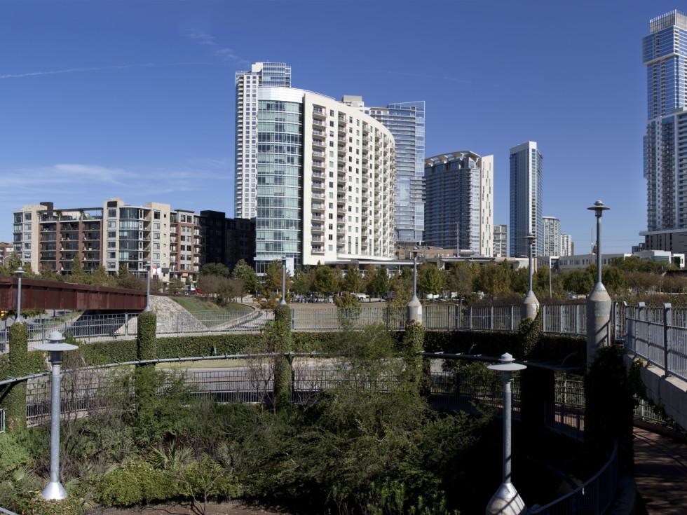 Pfluger pedestrian bridge downtown Austin Lady Bird Lake
