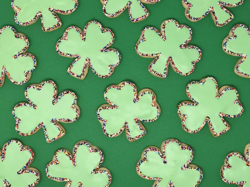 shamrock sugar cookies, SusieCakes