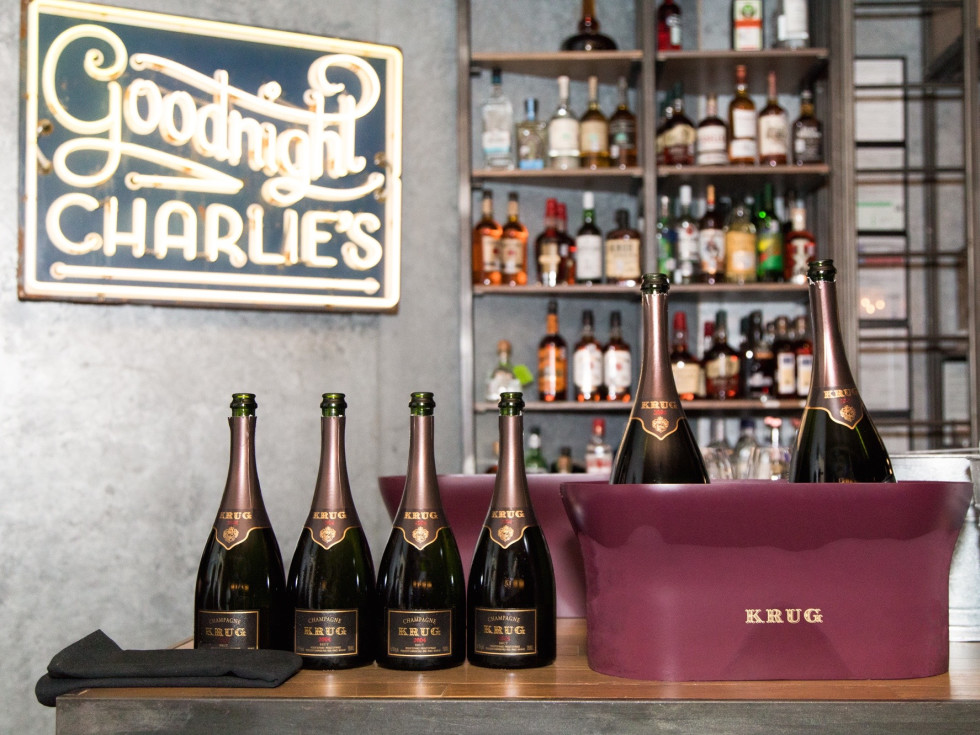 Krug Dinner Goodnight Charlie's bottles