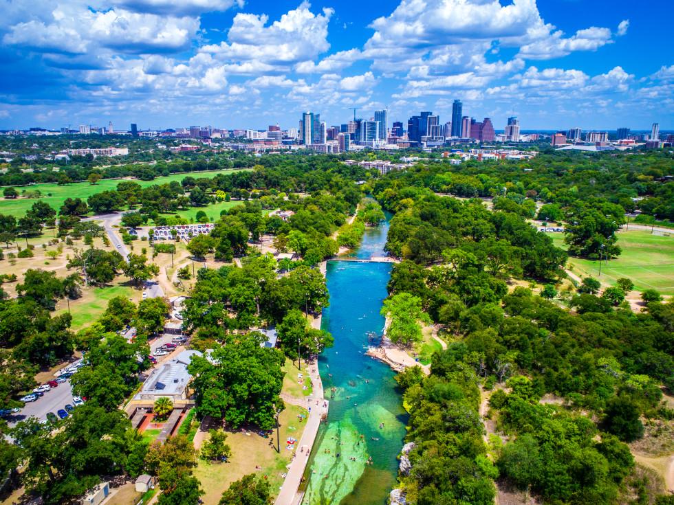 Austin skyline with Barton Springs Pool and Lady Bird Lake
