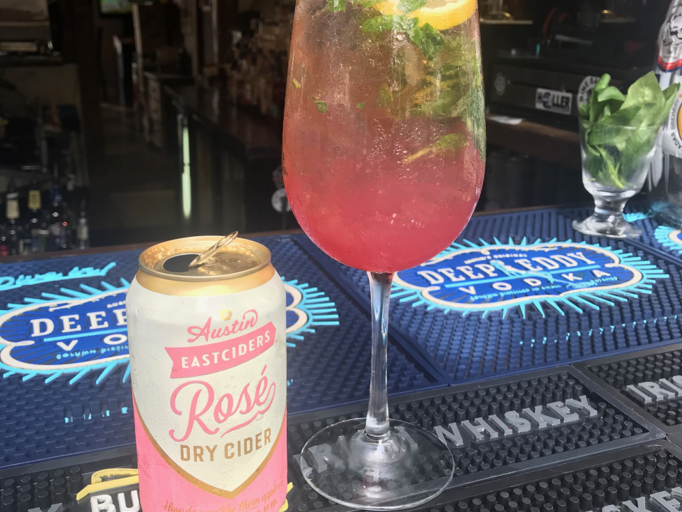 Hibiscus Skies cocktail at Henderson Heights in Houston