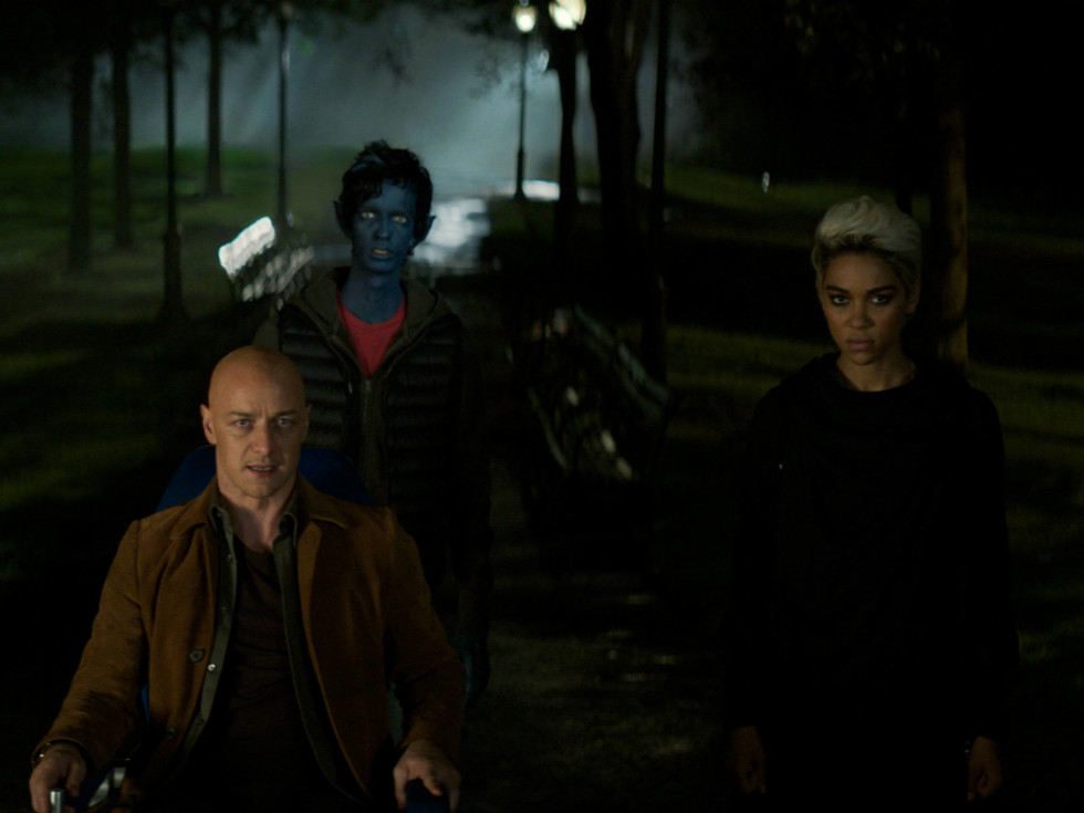 James McAvoy, Kodi Smit-McPhee, and Alexandra Shipp in Dark Phoenix