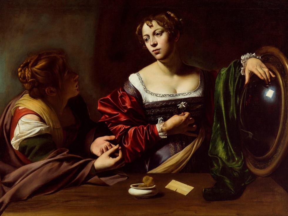 Michelangelo Merisi da Caravaggio, Martha and Mary Magdalene, c. 1598, oil and tempera on canvas
