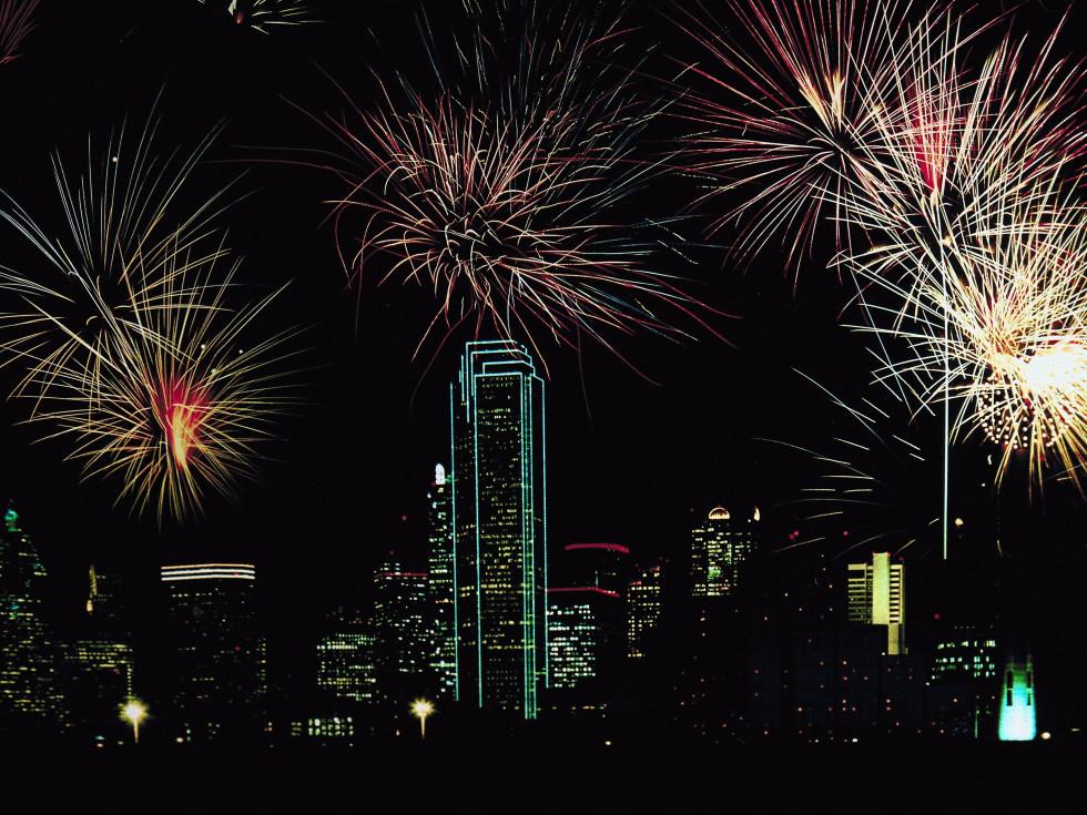 Dallas skyline fireworks