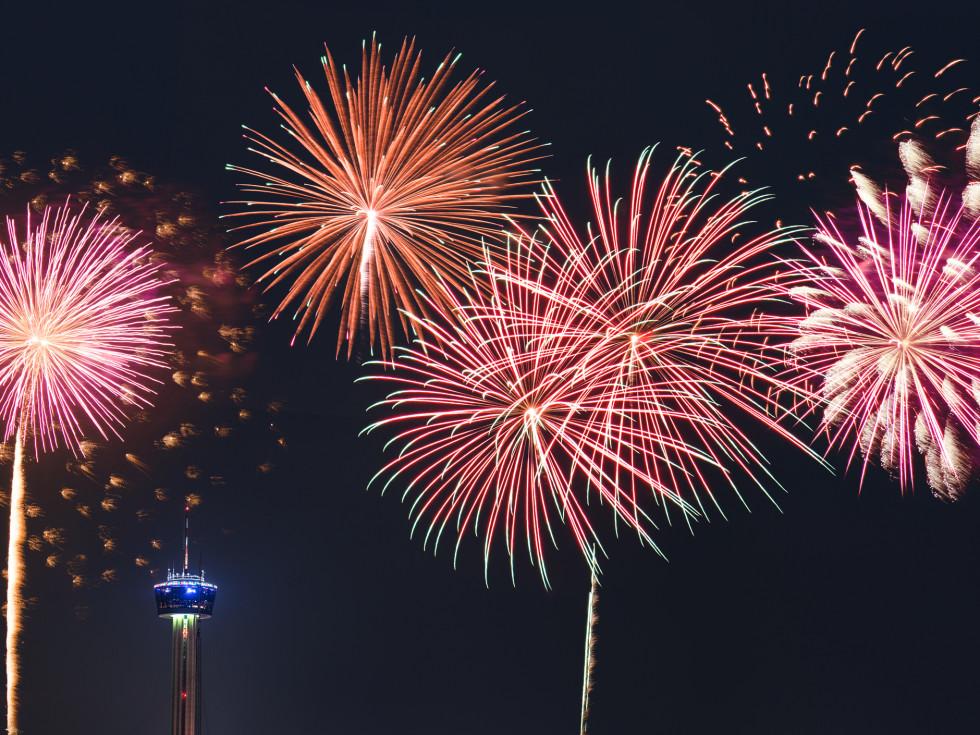 San Antonio skyline fireworks
