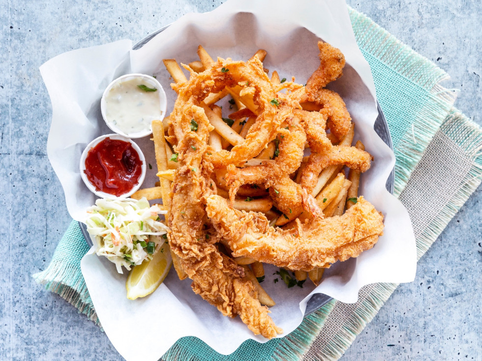 Pappas Shrimp Shack fried cod and shrimp
