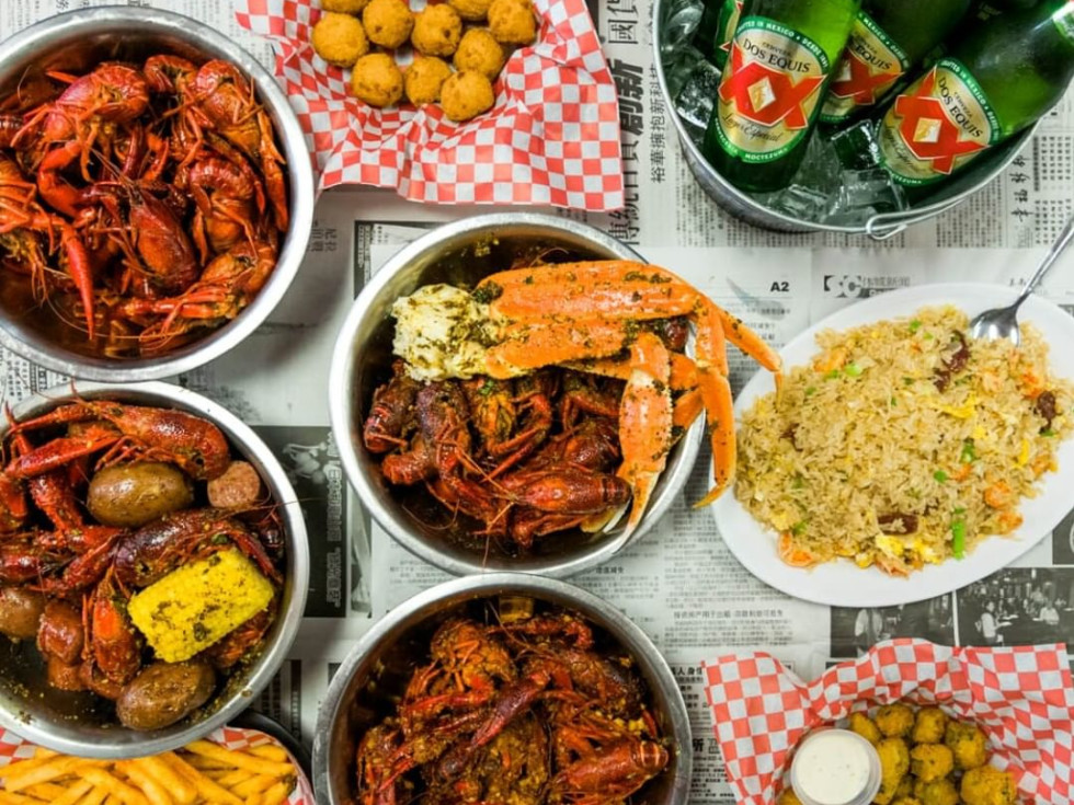 Crawfish Cafe food spread