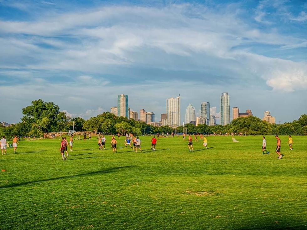 Zilker Park Austin skyline