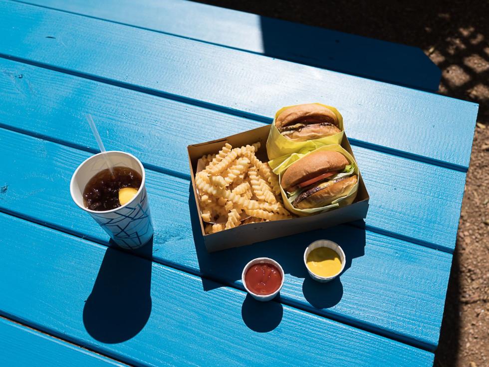Pool Burger hamburger overhead shot Austin