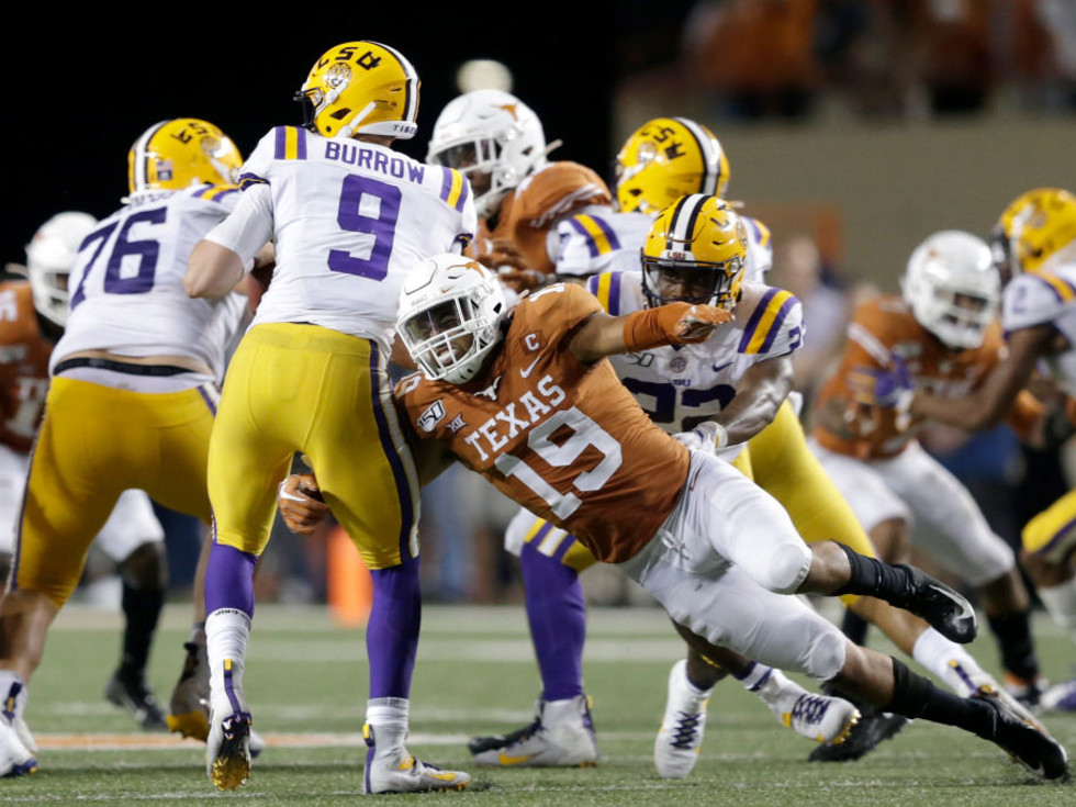 Texas Longhorns Louisiana State Joe Burrows quarterback Brandon Jones