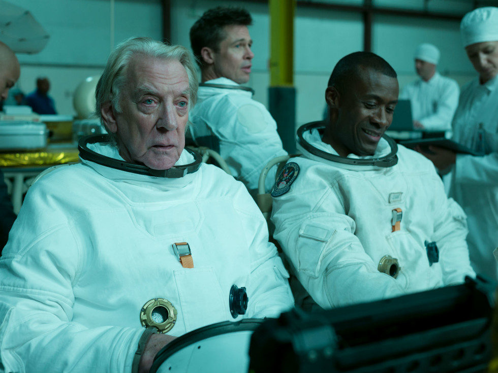 Donald Sutherland, Brad Pitt, and Sean Blakemore in Ad Astra