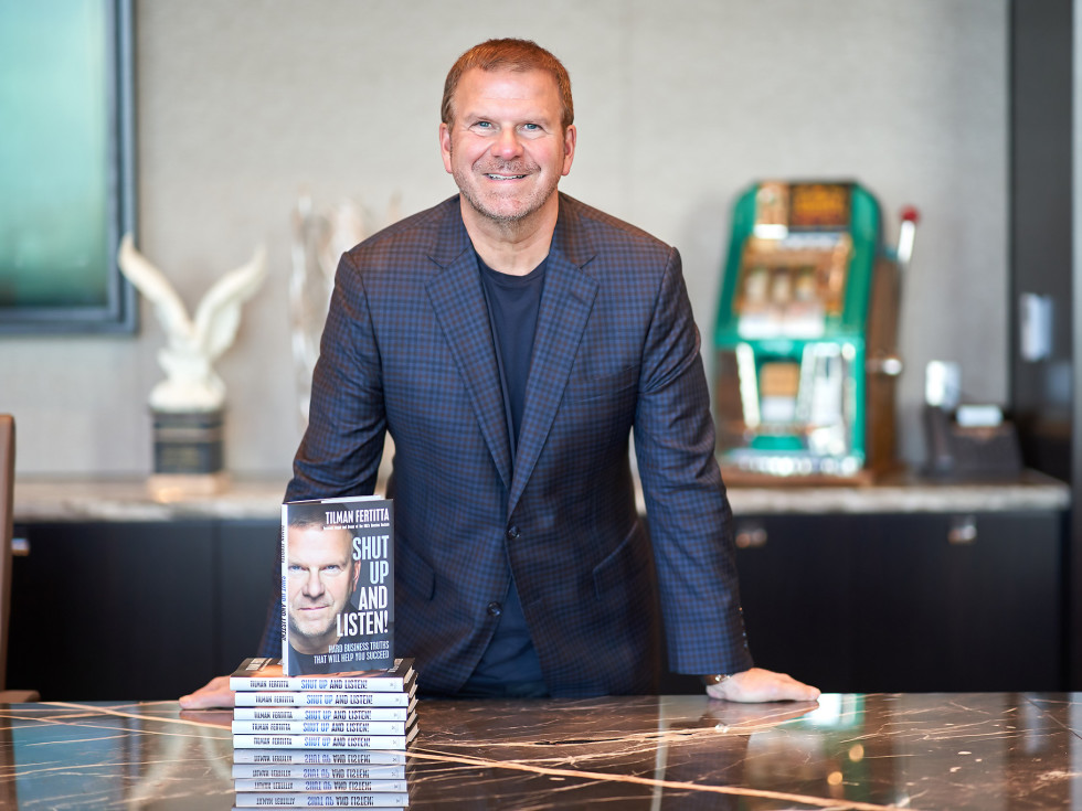 Tilman Fertitta Shut Up and Listen book standing