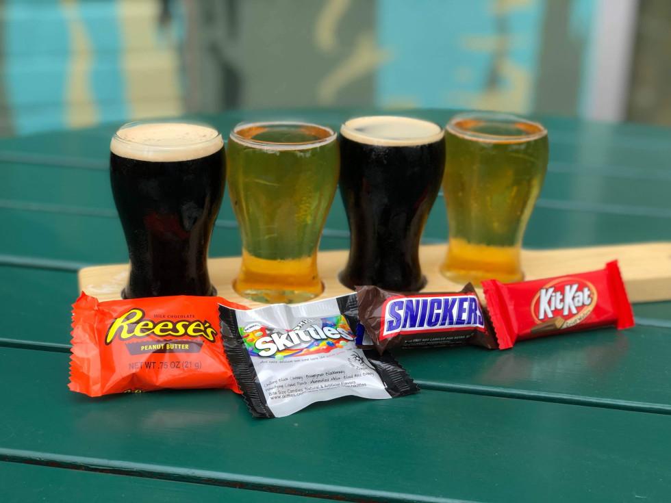 Halloween candy beer flight Brewed