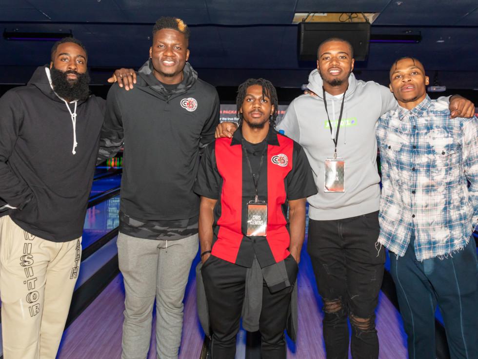 Clint Capela bowling bash 2019 James Harden, Clint Capela, Chris Clemons, Gary Clark, Russell Westbrook