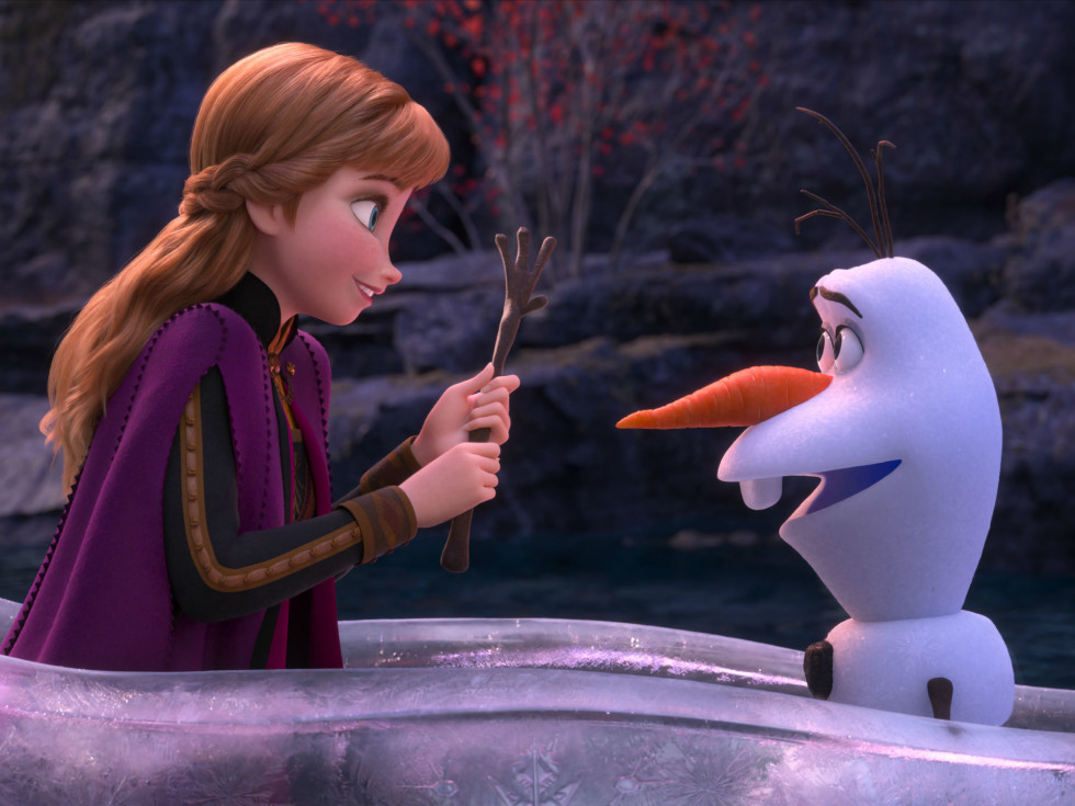 Anna (Kristen Bell) and Olaf (Josh Gad) in Frozen II