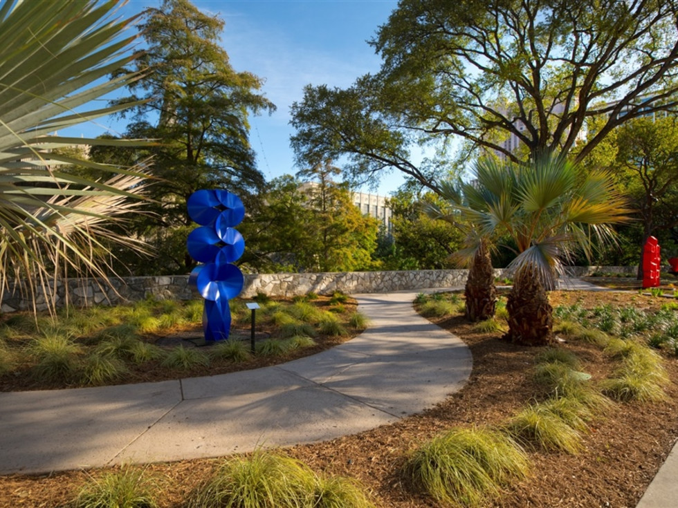 Public art garden along the River Walk.