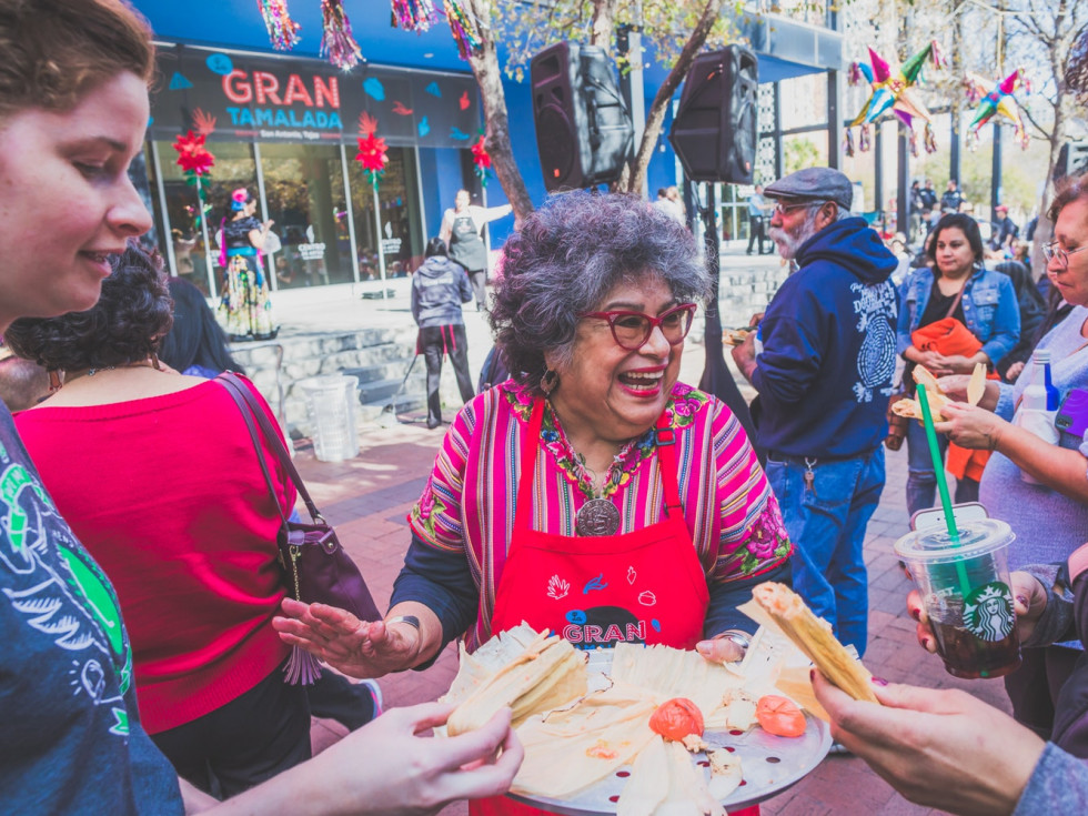 Author Ellen Riojas Clark at Gran Tamalada at Market Square.