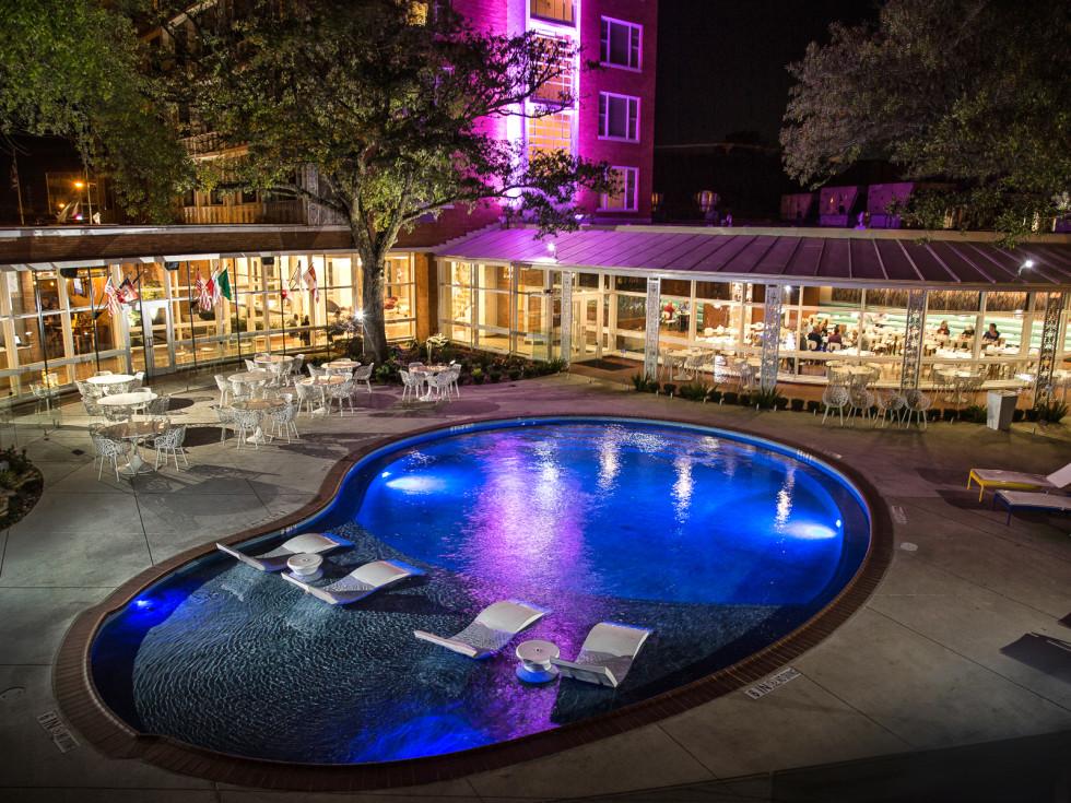 The Fredonia Hotel pool at night