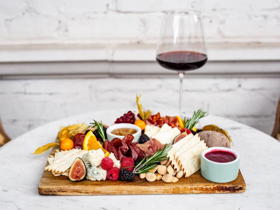 Emmaline wine and charcuterie board