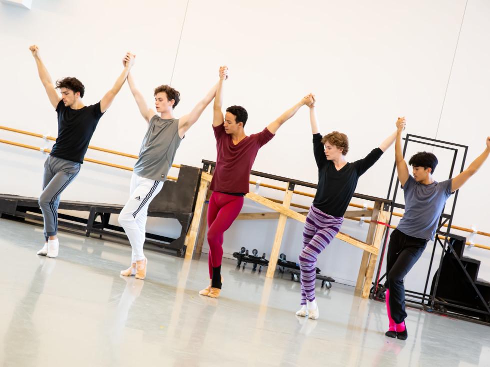 Artists of Houston Ballet rehearsing Trey McIntyre's Pretty Things.