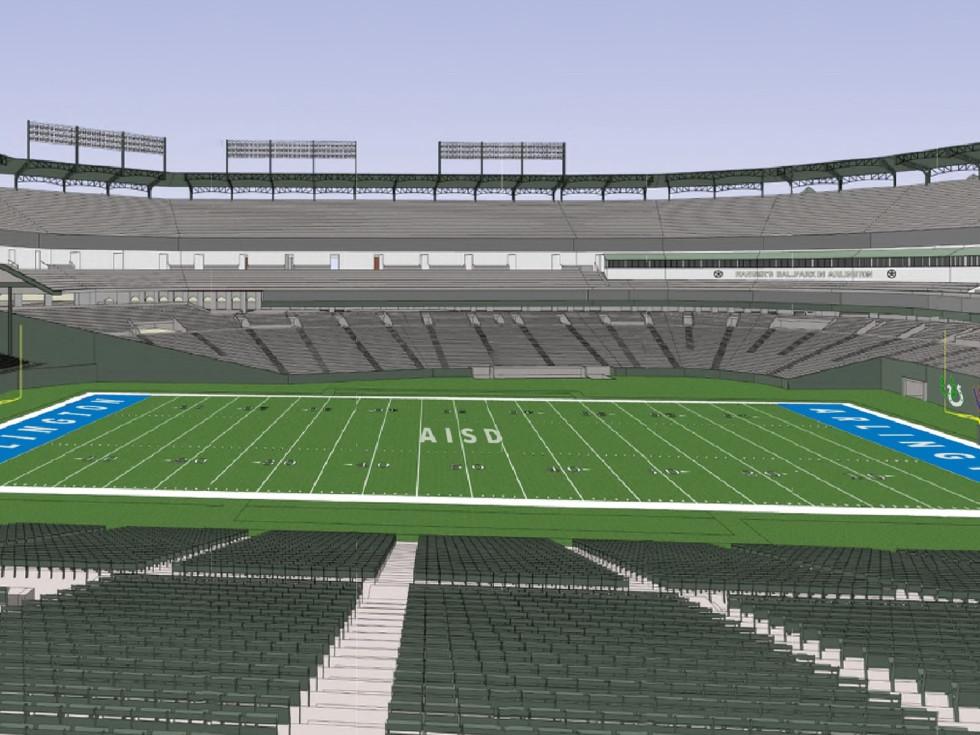 Arlington ISD football field Globe Life Park rendering