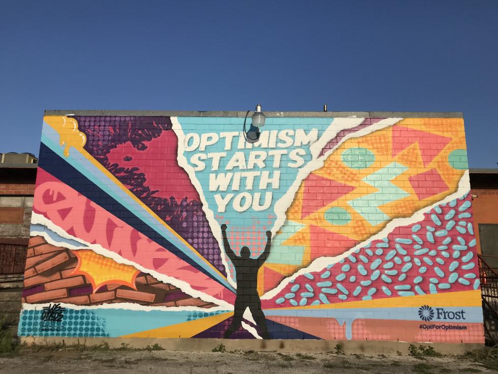 mural by Los Otros, Frost Bank