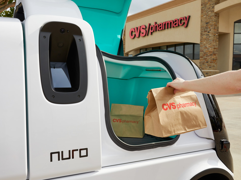 Nuro driverless prescription delivery Houston CVS