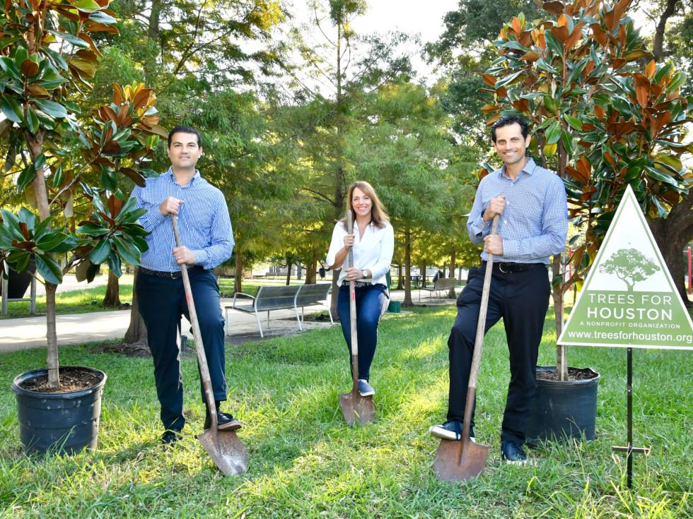 Segev Zadok, Laura Mayer of Trees for Houston, Jonathan Zadok