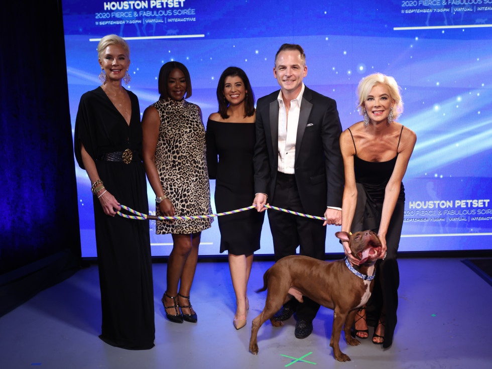 Houston PetSet Fierce Fabulous Soiree 2020 Tena Lundquist Faust, Deborah Duncan, Lisa Hernandez, Johnny Bravo Holloway, Tama Lundquist and Adoptable Dog Polo