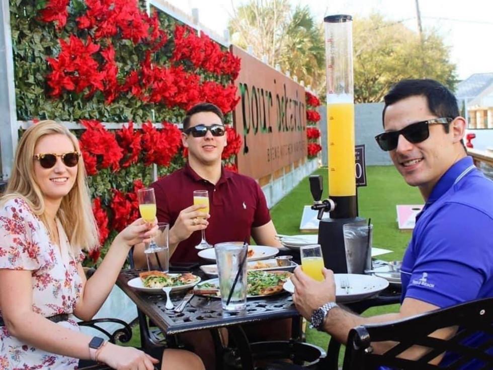 Friends enjoying brunch outdoors