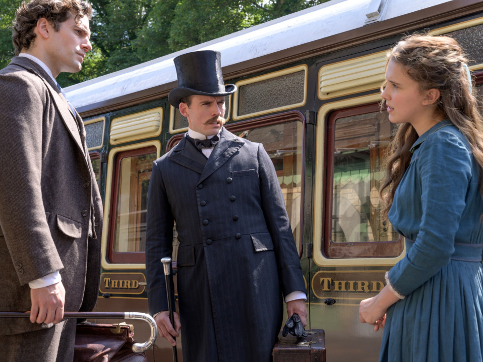 Henry Cavill, Sam Claflin, and Millie Bobby Brown in Enola Holmes