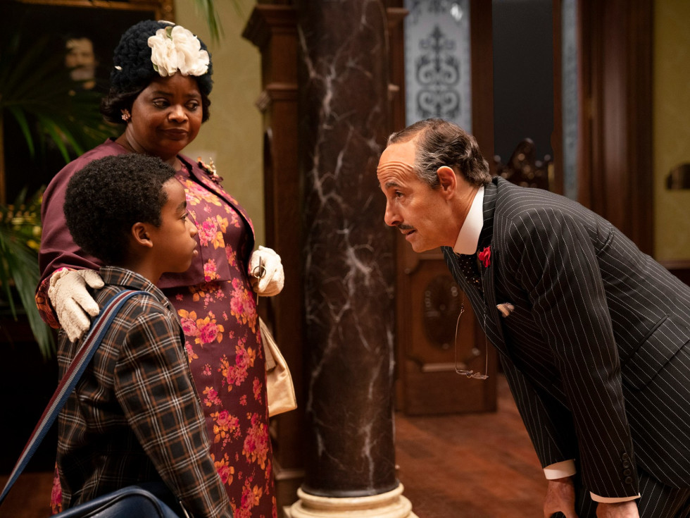 Octavia Spencer, Jahzir Bruno, and Stanley Tucci in The Witches