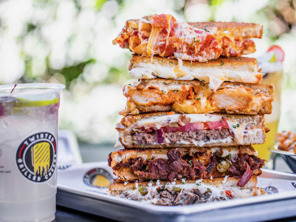 Twisted Grilled Cheese sandwich stack