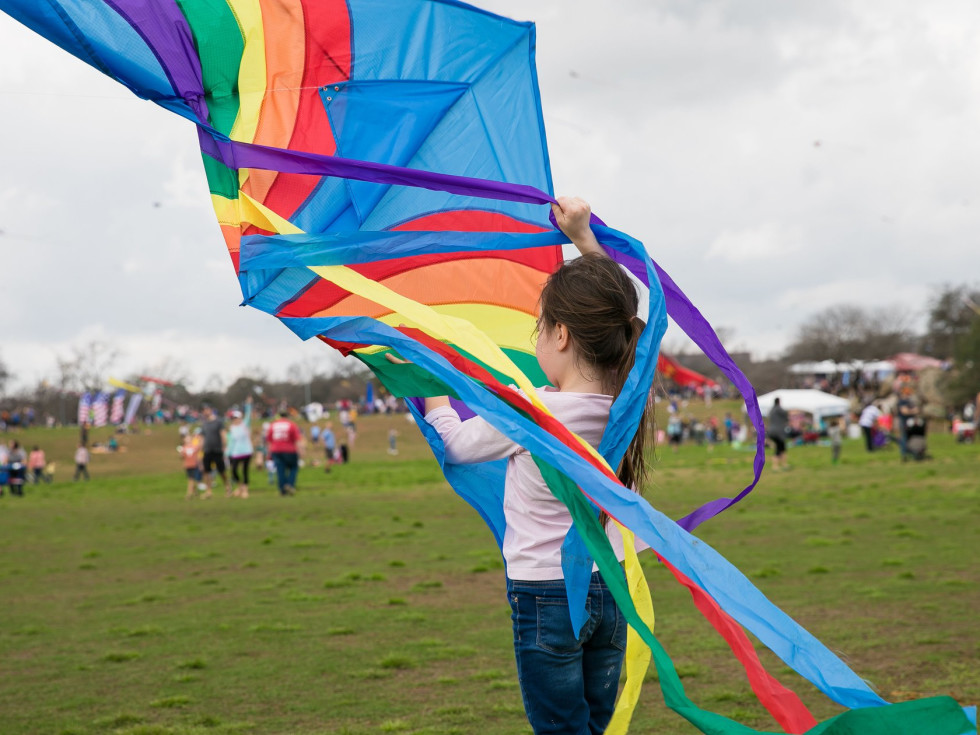 ABC Kite Festival girl with kite zilker park