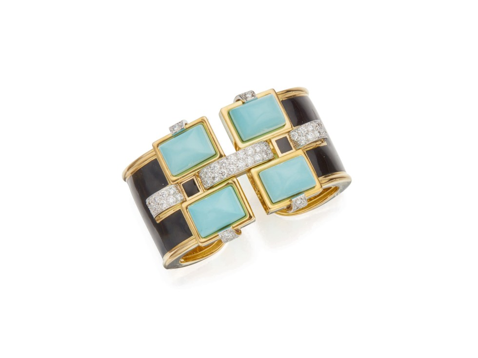Turquoise, Enamel and Diamond 'Bastille' Cuff-Bracelet, David Webb, Anne Marion