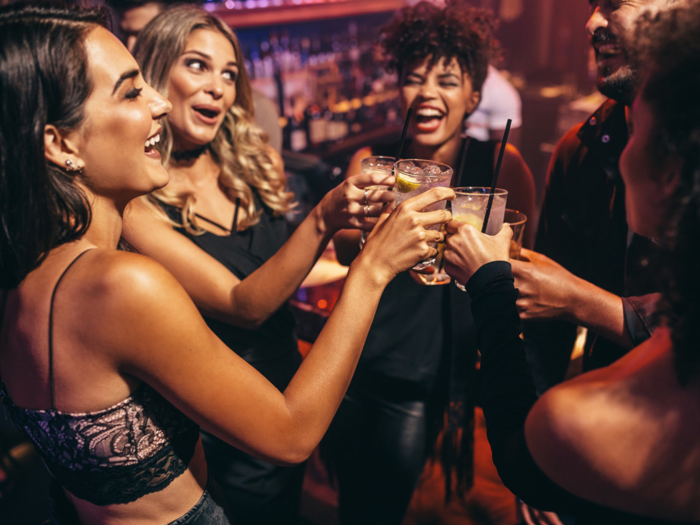 Women toasting in bar