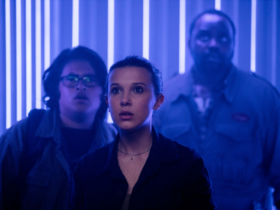 Julian Dennison, Millie Bobby Brown, and Brian Tyree Henry in Godzilla vs. Kong