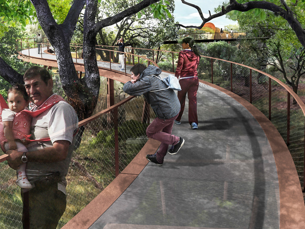 Skywalk at land bridge rendering